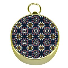 Floral Flower Star Blue Gold Compasses by Mariart