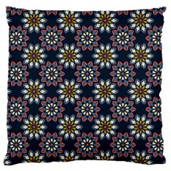Floral Flower Star Blue Large Flano Cushion Case (two Sides) by Mariart