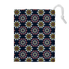 Floral Flower Star Blue Drawstring Pouches (extra Large) by Mariart