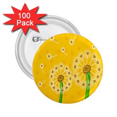 Leaf Flower Floral Sakura Love Heart Yellow Orange White Green 2 25  Buttons (100 Pack)  by Mariart