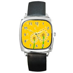 Leaf Flower Floral Sakura Love Heart Yellow Orange White Green Square Metal Watch by Mariart