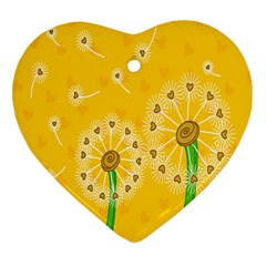 Leaf Flower Floral Sakura Love Heart Yellow Orange White Green Heart Ornament (two Sides) by Mariart
