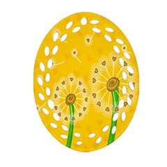 Leaf Flower Floral Sakura Love Heart Yellow Orange White Green Oval Filigree Ornament (two Sides) by Mariart