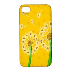 Leaf Flower Floral Sakura Love Heart Yellow Orange White Green Apple Iphone 4/4s Hardshell Case With Stand by Mariart