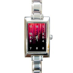 Line Vertical Plaid Light Black Red Purple Pink Sexy Rectangle Italian Charm Watch by Mariart