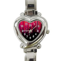 Line Vertical Plaid Light Black Red Purple Pink Sexy Heart Italian Charm Watch by Mariart
