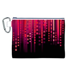 Line Vertical Plaid Light Black Red Purple Pink Sexy Canvas Cosmetic Bag (l) by Mariart