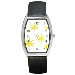 Line Painting Yellow Star Barrel Style Metal Watch by Mariart