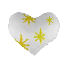 Line Painting Yellow Star Standard 16  Premium Flano Heart Shape Cushions by Mariart