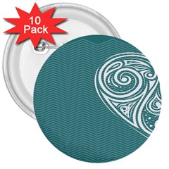 Line Wave Chevron Star Blue Love Heart Sea Beach 3  Buttons (10 Pack)  by Mariart
