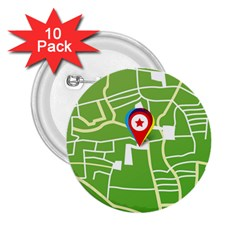 Map Street Star Location 2 25  Buttons (10 Pack)  by Mariart