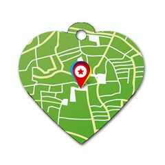 Map Street Star Location Dog Tag Heart (one Side) by Mariart