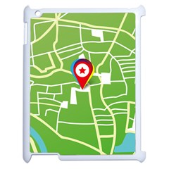 Map Street Star Location Apple Ipad 2 Case (white) by Mariart