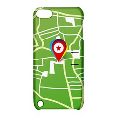 Map Street Star Location Apple Ipod Touch 5 Hardshell Case With Stand by Mariart