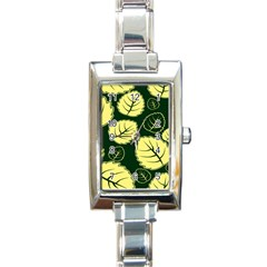 Leaf Green Yellow Rectangle Italian Charm Watch by Mariart