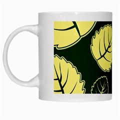 Leaf Green Yellow White Mugs by Mariart