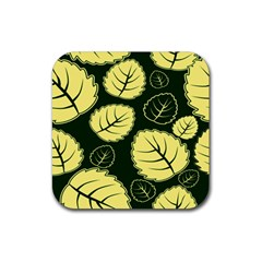 Leaf Green Yellow Rubber Coaster (square)  by Mariart