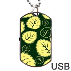 Leaf Green Yellow Dog Tag Usb Flash (one Side) by Mariart