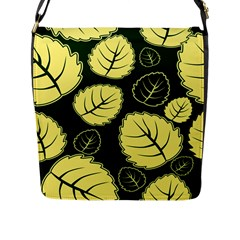 Leaf Green Yellow Flap Messenger Bag (l)  by Mariart