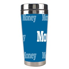 Money White Blue Color Stainless Steel Travel Tumblers by Mariart