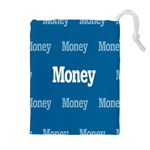 Money White Blue Color Drawstring Pouches (Extra Large) Front