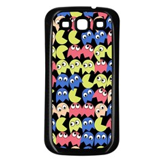 Pacman Seamless Generated Monster Eat Hungry Eye Mask Face Color Rainbow Samsung Galaxy S3 Back Case (black) by Mariart