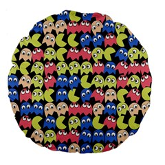 Pacman Seamless Generated Monster Eat Hungry Eye Mask Face Color Rainbow Large 18  Premium Flano Round Cushions