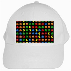 Pacman Seamless Generated Monster Eat Hungry Eye Mask Face Rainbow Color White Cap by Mariart