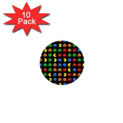 Pacman Seamless Generated Monster Eat Hungry Eye Mask Face Rainbow Color 1  Mini Buttons (10 Pack)  by Mariart