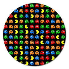 Pacman Seamless Generated Monster Eat Hungry Eye Mask Face Rainbow Color Magnet 5  (round) by Mariart