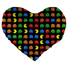Pacman Seamless Generated Monster Eat Hungry Eye Mask Face Rainbow Color Large 19  Premium Flano Heart Shape Cushions by Mariart