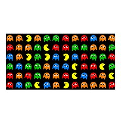 Pacman Seamless Generated Monster Eat Hungry Eye Mask Face Rainbow Color Satin Shawl by Mariart