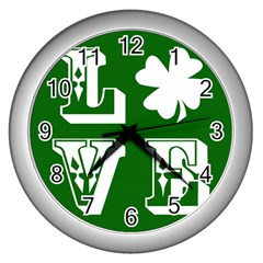 Parks And Tally Love Printable Green Wall Clocks (silver)  by Mariart