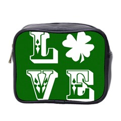 Parks And Tally Love Printable Green Mini Toiletries Bag 2 Side by Mariart