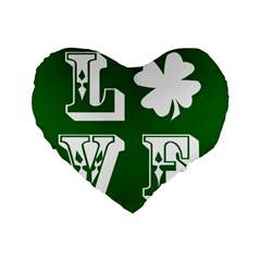 Parks And Tally Love Printable Green Standard 16  Premium Flano Heart Shape Cushions by Mariart