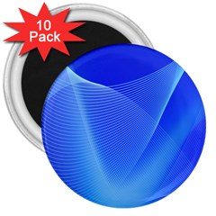 Line Net Light Blue White Chevron Wave Waves 3  Magnets (10 Pack)  by Mariart