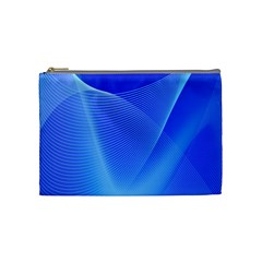 Line Net Light Blue White Chevron Wave Waves Cosmetic Bag (medium)  by Mariart