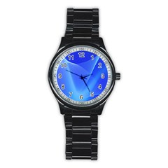 Line Net Light Blue White Chevron Wave Waves Stainless Steel Round Watch by Mariart