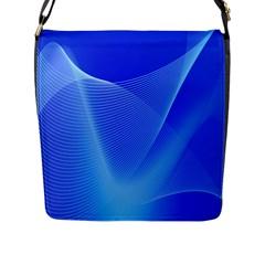 Line Net Light Blue White Chevron Wave Waves Flap Messenger Bag (l)  by Mariart