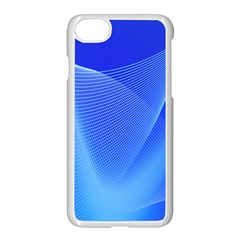 Line Net Light Blue White Chevron Wave Waves Apple Iphone 7 Seamless Case (white) by Mariart