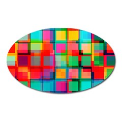 Plaid Line Color Rainbow Red Orange Blue Chevron Oval Magnet by Mariart