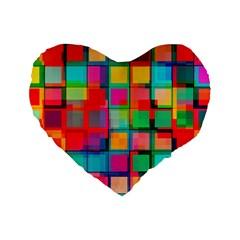 Plaid Line Color Rainbow Red Orange Blue Chevron Standard 16  Premium Heart Shape Cushions by Mariart