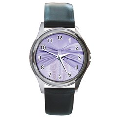 Ribbon Purple Sexy Round Metal Watch by Mariart