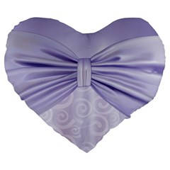Ribbon Purple Sexy Large 19  Premium Heart Shape Cushions by Mariart