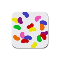 Seed Beans Color Rainbow Rubber Square Coaster (4 Pack)  by Mariart