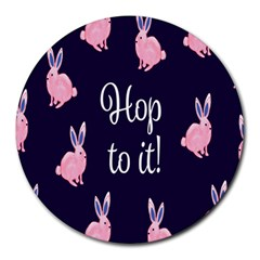 Rabbit Bunny Pink Purple Easter Animals Round Mousepads by Mariart