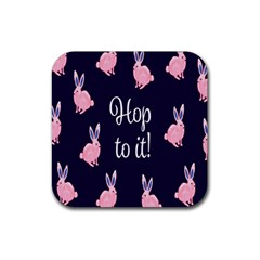 Rabbit Bunny Pink Purple Easter Animals Rubber Square Coaster (4 Pack)  by Mariart