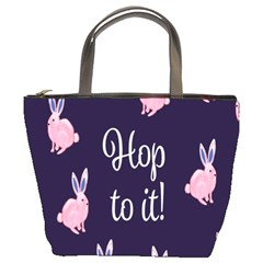 Rabbit Bunny Pink Purple Easter Animals Bucket Bags by Mariart