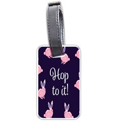 Rabbit Bunny Pink Purple Easter Animals Luggage Tags (two Sides) by Mariart