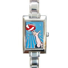 Volly Ball Sport Game Player Rectangle Italian Charm Watch by Mariart